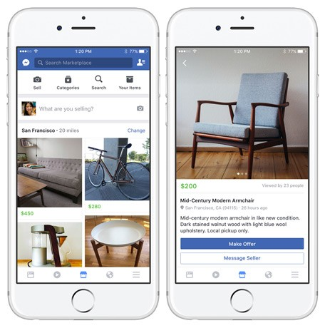 Facebook launches new 'marketplace' for buying, selling